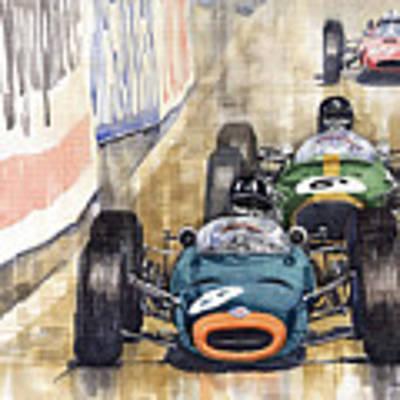 Monaco Gp 1964 Brm Brabham Ferrari Art Print by Yuriy Shevchuk