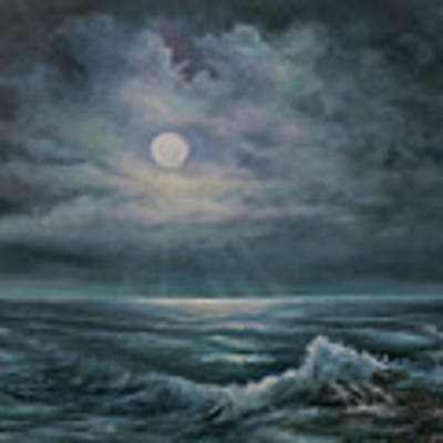 Moonlit Seascape Art Print by Katalin Luczay