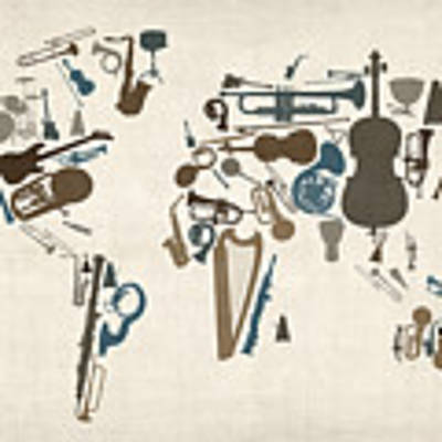 Musical Instruments Map Of The World Map Art Print