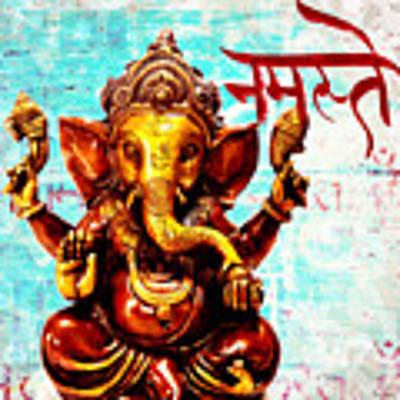 Namaste Bhagavaan Ganesh Art Print by Lita Kelley