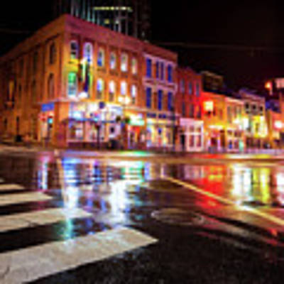 Nashville Neons Over Lower Broadway Art Print by Gregory Ballos