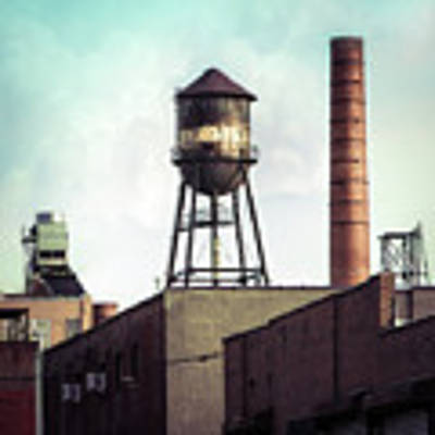 New York Water Towers 19 - Urban Industrial Art Photography Art Print by Gary Heller
