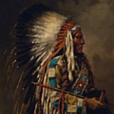 Nez Perce Chief Art Print by Edgar S Paxson