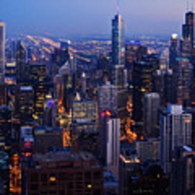 Nighttime Chicago Skyline Art Print by Kyle Hanson