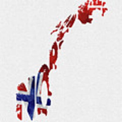 Norway Typographic Map Flag Art Print