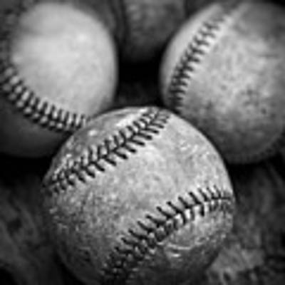 Old Baseballs In Black And White Art Print by Edward Fielding