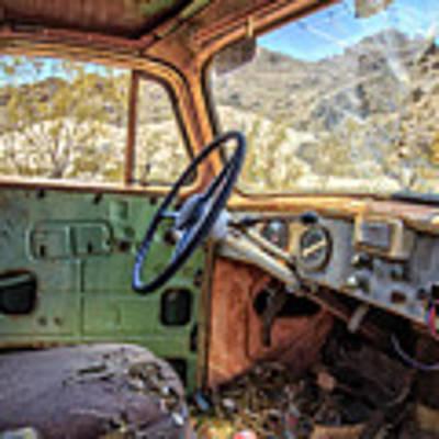 Old Truck Interior Nevada Desert Art Print by Edward Fielding