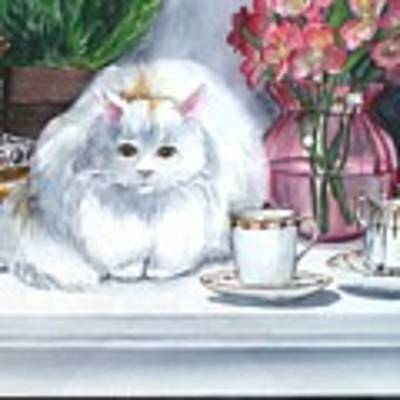 One Real Cat And Several Faux Kitties Art Print by Jane Loveall