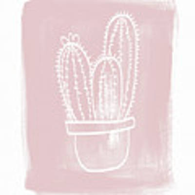 Pink And White Cactus- Art By Linda Woods Art Print by Linda Woods