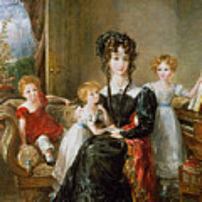 Portrait Of Elizabeth Lea And Her Children Art Print by John Constable