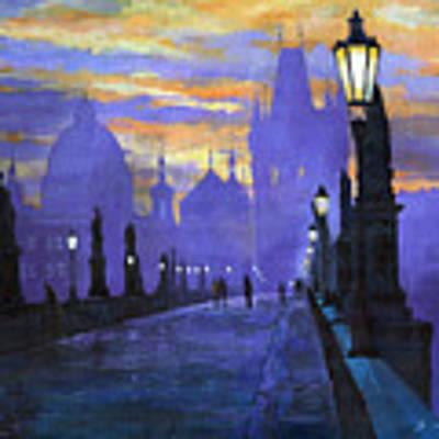 Prague Charles Bridge Sunrise Original by Yuriy Shevchuk