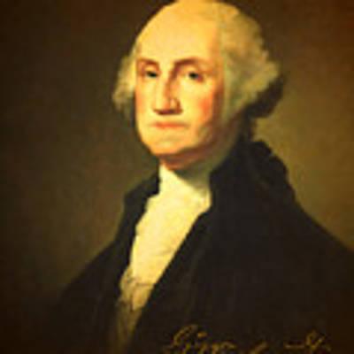 President George Washington Portrait And Signature Art Print