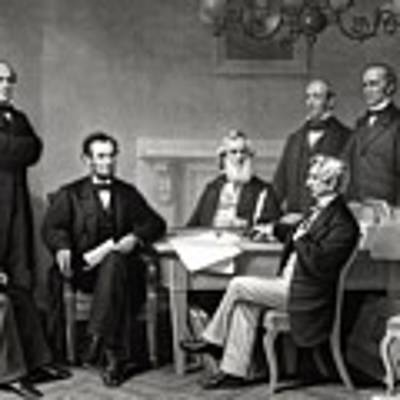 President Lincoln And His Cabinet Art Print by War Is Hell Store