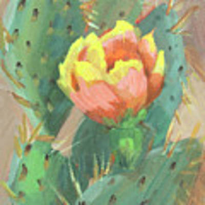 Prickly Pear Cactus Bloom Original by Diane McClary
