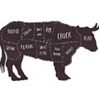 Primitive Butcher Shop Beef Cuts Chart T-shirt Art Print