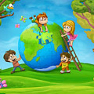 Puzzle World Art Print by Tooshtoosh