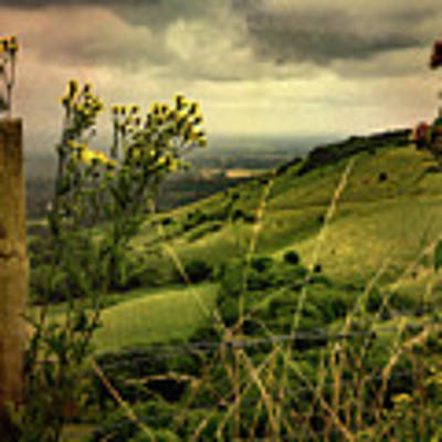 Rainy Day Hilltop View On The South Downs Art Print by Chris Lord