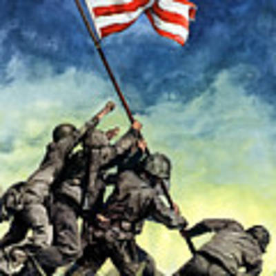 Raising The Flag On Iwo Jima Art Print