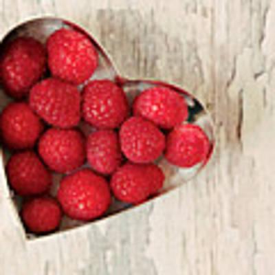 Raspberry Heart Art Print by Kim Fearheiley