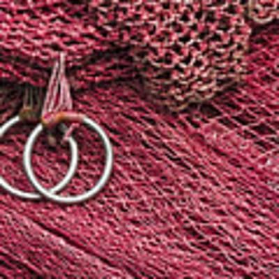 Red Fishing Nets Art Print by Carol Leigh