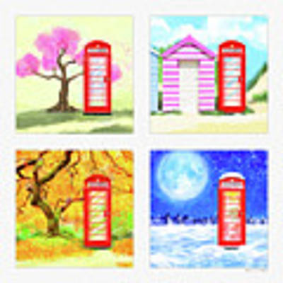 Red Telephone Box - British Seasons Art Print by Mark Tisdale