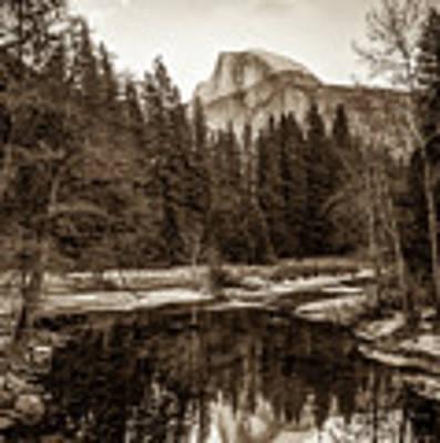 Reflecting Yosemite Half Dome Skies - Sepia Edition Art Print by Gregory Ballos