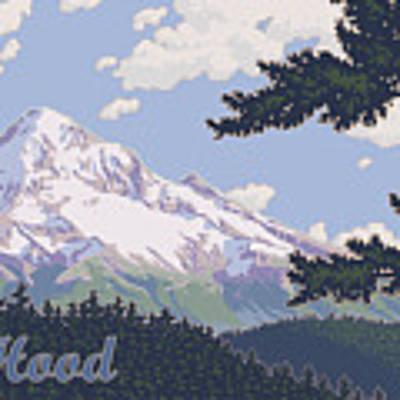 Retro Mount Hood Art Print by Mitch Frey