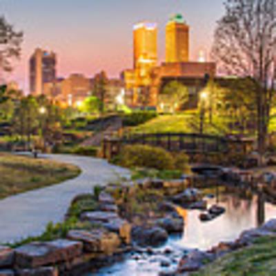 Riverwalk To The Tulsa Oklahoma Skyline  Art Print by Gregory Ballos