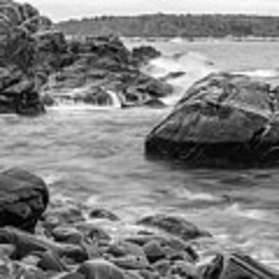 Rocky Coast Of Maine In Bw Art Print by Doug Camara