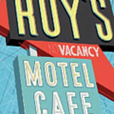 Roy's Motel Cafe Pop Art Art Print by Jim Zahniser