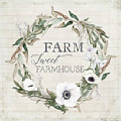 Rustic Farm Sweet Farmhouse Shiplap Wood Boho Eucalyptus Wreath N Anemone Floral 2 Original by Audrey Jeanne Roberts