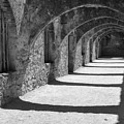 San Antonio Mission San Jose - Black And White Art Print by Gregory Ballos