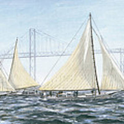 Skipjacks Racing Chesapeake Bay Maryland Detail Art Print by G Linsenmayer