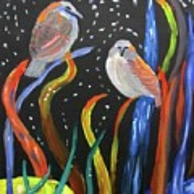 Sparrows Inspired By Chihuly Art Print by Linda Feinberg