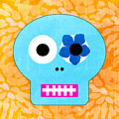 Sugar Skull Blue And Orange Art Print