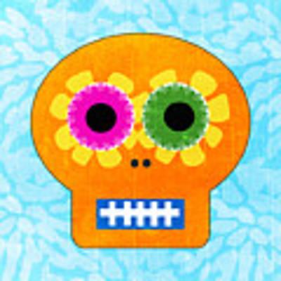 Sugar Skull Orange And Blue Art Print