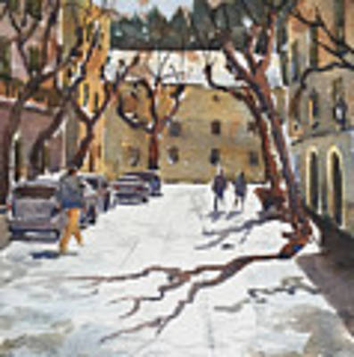 Sunny Street, Valledemossa Art Print by David Gilmore