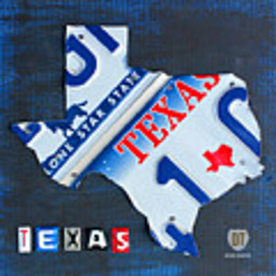 Texas License Plate Map Art Print