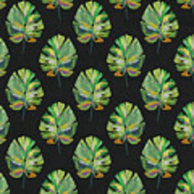 Tropical Leaves On Black- Art By Linda Woods Art Print by Linda Woods
