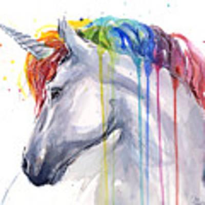 Unicorn Rainbow Watercolor Art Print