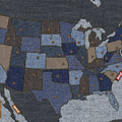 United States Of Denim Art Print by Michael Tompsett