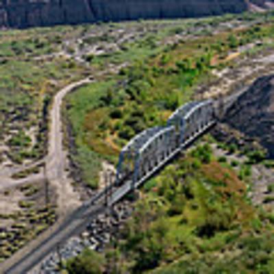 Up Tracks Cross The Mojave River Art Print by Jim Thompson