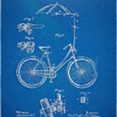 Vintage Bicycle Parasol Patent Artwork 1896 Art Print