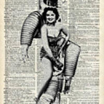 Vintage Girl In Robot Costume Art Print