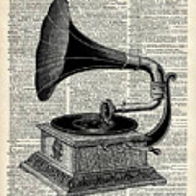Vintage Gramophone Art Print by Anna W
