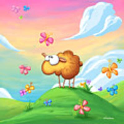 Wallo The Sheep - Pink Art Print by Tooshtoosh
