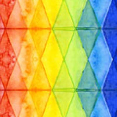 Watercolor Rainbow Pattern Geometric Shapes Triangles Art Print