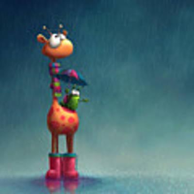 Winter Giraffe Art Print