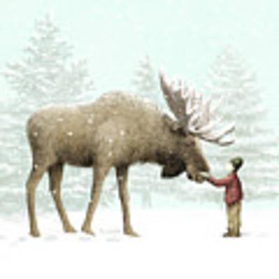 Winter Moose Art Print by Eric Fan
