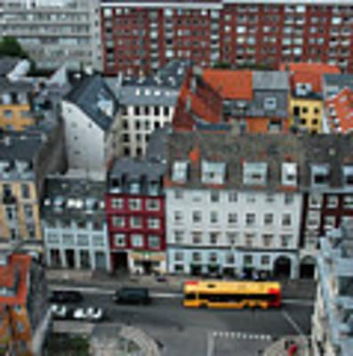 Yellow Bus In Copenhagen Denmark Art Print by Mary Lee Dereske